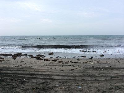悪天候の海岸(早朝に撮影)